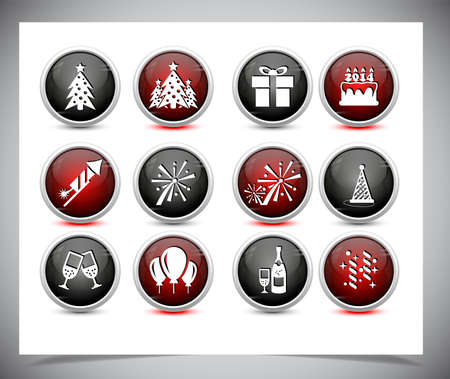 Set of color new year buttons. Vector illustration. Vector