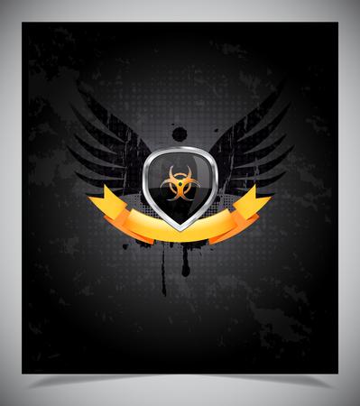 governmental: Brillante escudo negro y amarillo emblema sobre fondo negro Vectores