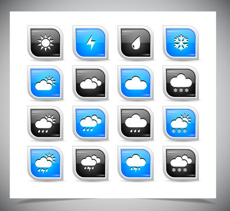 partly sunny: Set of color weather buttons. Vector illustration.