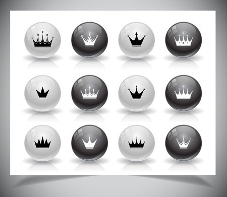 Set of black simple crowns. Vector illustration Stock Vector - 24510713