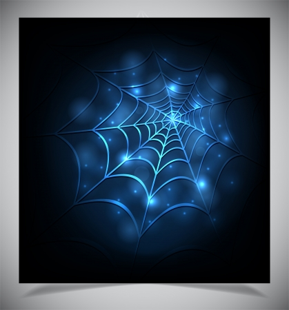Glowing spider web on a dark background. Vector illustration Vector