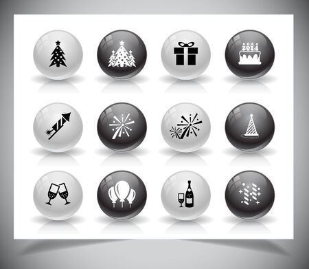 Set of grey new year buttons. Vector illustration. Vector