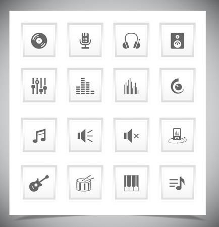 botones musica: Conjunto de botones de m�sica grises. Ilustraci�n vectorial Vectores