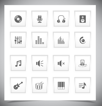 Set of grey music buttons. Vector illustration Vector