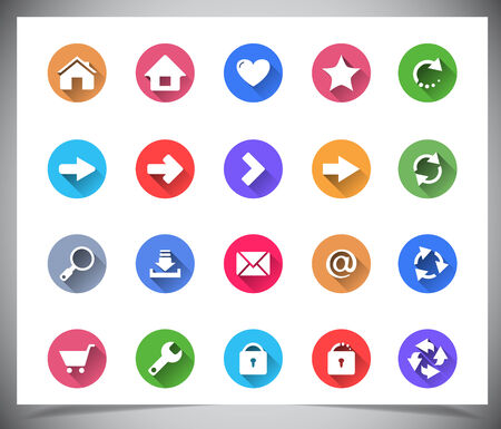 Set of flat color buttons. Vector illustration Vector