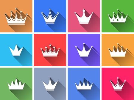 corona reina: Conjunto de botones de colores planos. Ilustración vectorial Vectores