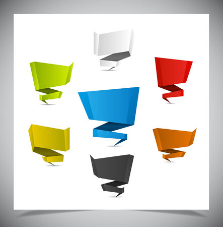 Set of origami color banners. vector illustration. Vector