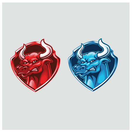 Red and Blue bull head mascot with badge