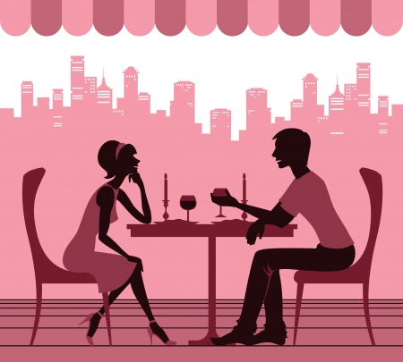 couples outdoors: Couple in the cafe Illustration