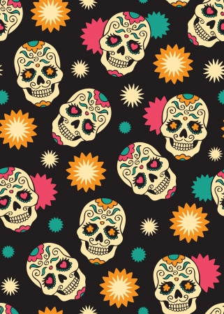 day of the dead: Seamless with sugar skulls