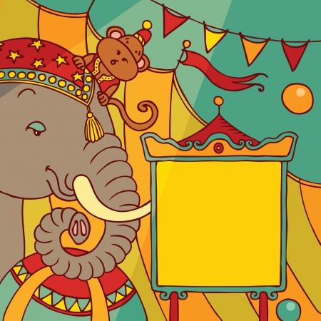 fondo de circo: circo bandera Vectores