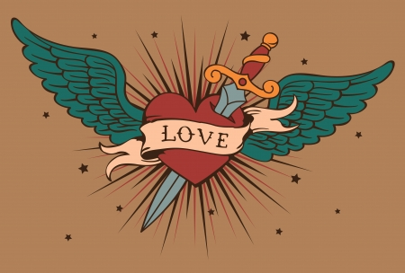 heart with wings and knife Vector
