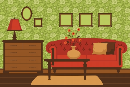 living room interior: Classic living room interior Illustration