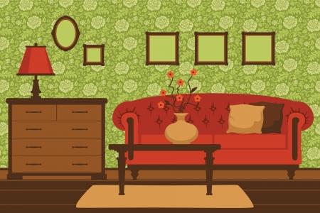 classic living room: Classic living room interior Illustration