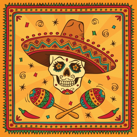 mexican sombrero: Teschio di zucchero messicano