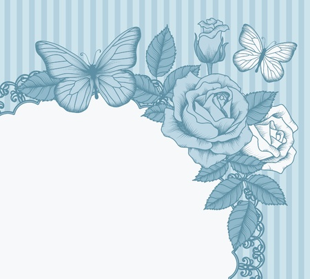 blue rose: Frame with flowers and butterflies