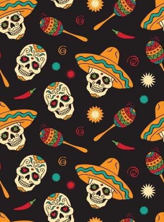 calavera caricatura: Seamless con calaveras mexicanas
