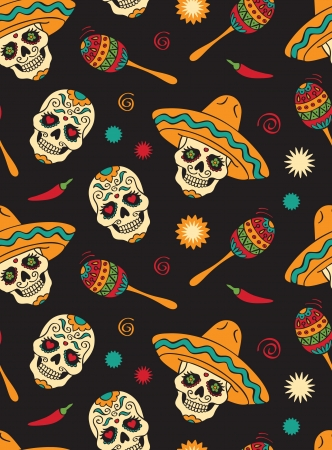 skull drawing: Seamless with mexican skulls Illustration