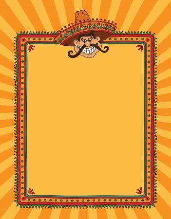 caricatura mexicana: Marco con la cabeza del hombre mexicano