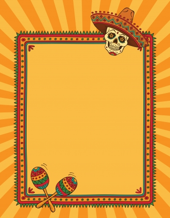 mexican cartoon: Frame with mexican skull in sombrero