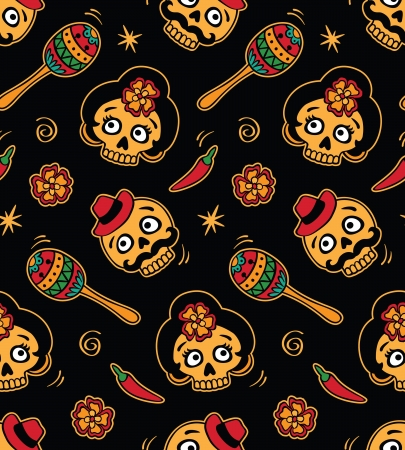 halloween party: Seamless with mexican skulls Illustration