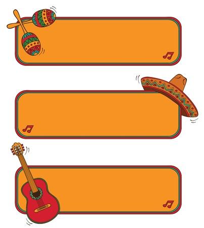 sombrero de charro: marcos de México Vectores