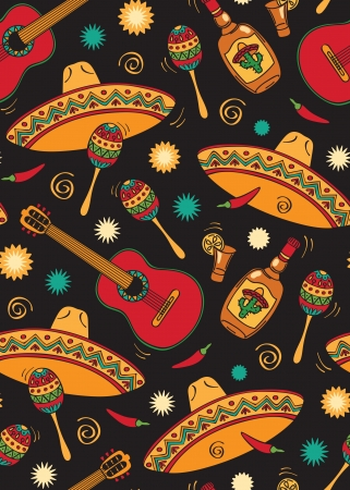 mexican cartoon: Seamless with mexican festival Illustration