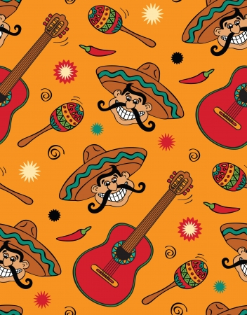 mexican sombrero: Seamless with mexican festival Illustration