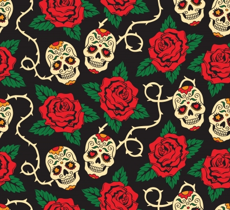 Seamless with mexican skulls Vector