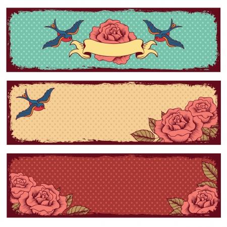 golondrinas: marcos con pájaros y flores sobre fondo de lunares