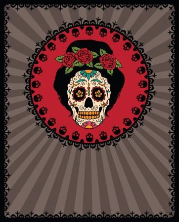 メキシカン ・ スカル女の子とフレーム  イラスト・ベクター素材