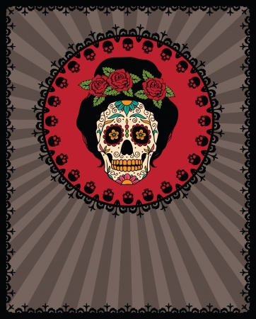 Frame with mexican skull girl Vector