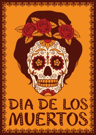 day of the dead: Frame with mexican skull girl Illustration