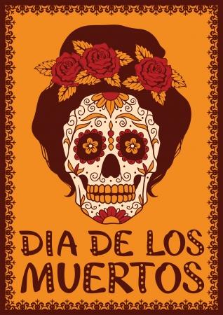 dia de muertos: Marco con chica mexicana cráneo Vectores