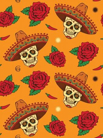Naadloos met mexicaanse schedel