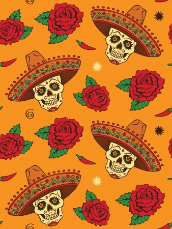 sombrero: Seamless with mexican skull
