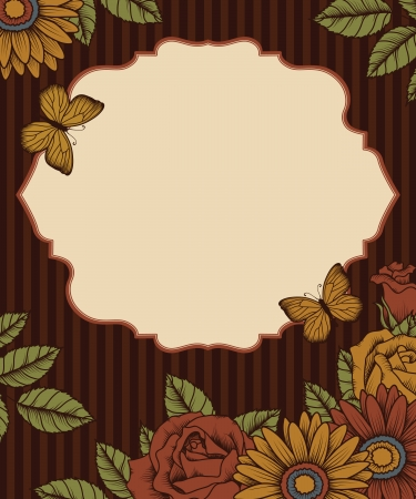 pink brown: frame with butterflies and flowers on striped background