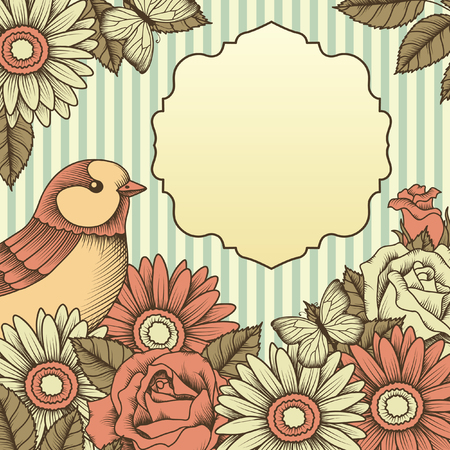 frame with bird and flower on striped background Vector