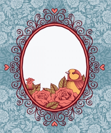 lace filigree: frame with bird and flowers on background of lace and heart Illustration
