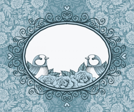 lace filigree: frame with birds and flowers on background of lace and heart Illustration