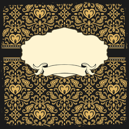accent abstract: frame with gold ornamental background