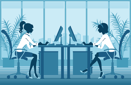 two girls working in office Vector