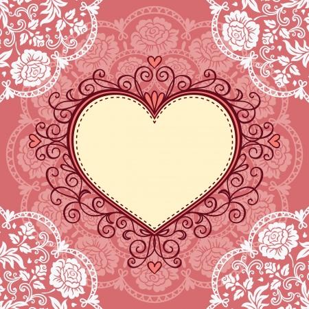dibujo vintage: Marco del coraz�n ornamental con encaje
