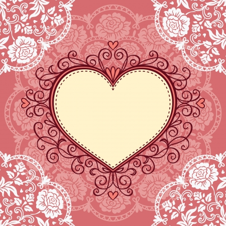 retro illustration: Ornamental heart frame with lace