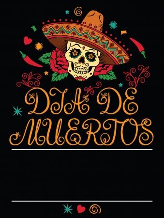 mexican sombrero: Telaio con teschio di zucchero messicano Vettoriali