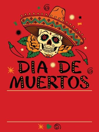 mexican sombrero: Telaio con teschio messicano sombrero