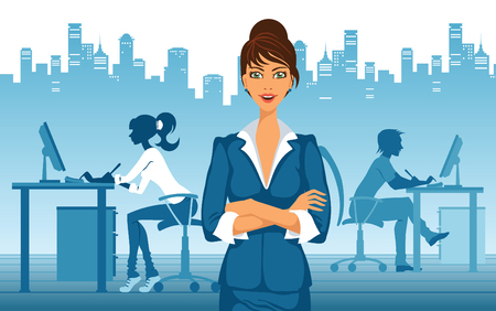 Beautiful brunette business woman standing in office Vector