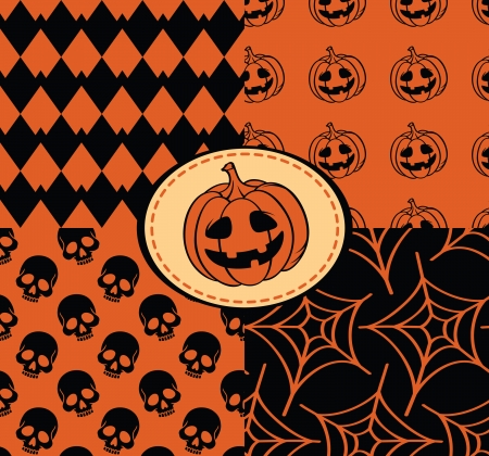 Halloween seamless with skull, pumpkin, web Vector