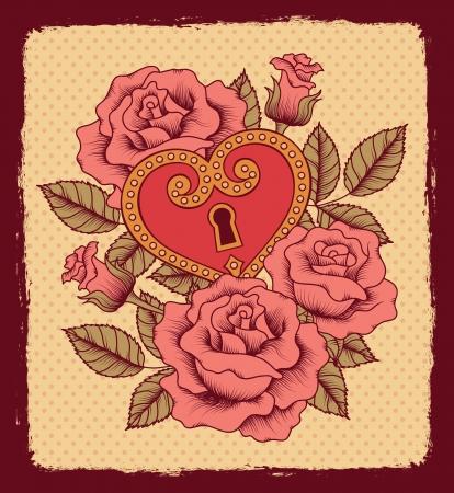 tatouage fleur: Motif de roses et le coeur Illustration