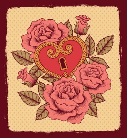 tattoo flower: Pattern of roses and heart Illustration